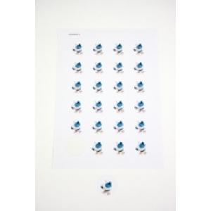Ronde sticker - Hondje Pitty - Cyaan - Per vel van 24 stuks